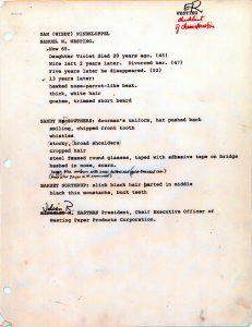 Checklist of Characteristics, page 1